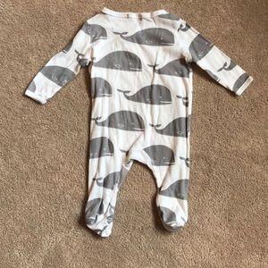 Milkbarn One Pieces - Milkbarn lightweight whale print  footsies 0-3mths